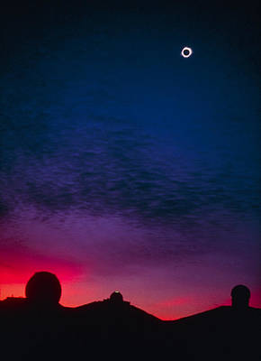Solar Eclipse Over Mauna Kea Observatory Art Print by Magrath Photography