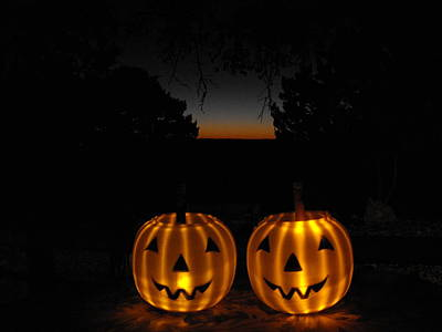 Photograph - Solar Halloween Pumpkins by Rebecca Cearley