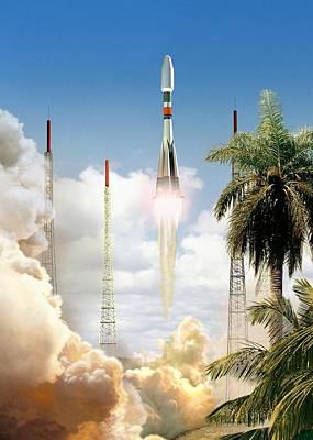 Soyuz-2 Rocket Launch, Artwork Print by David Ducros