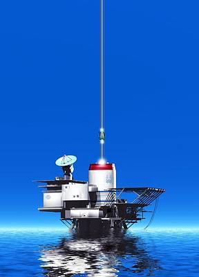 Space Elevator Station, Artwork Art Print by Victor Habbick Visions