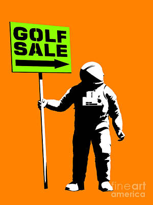 Sports Paintings - Space golf sale by Pixel Chimp