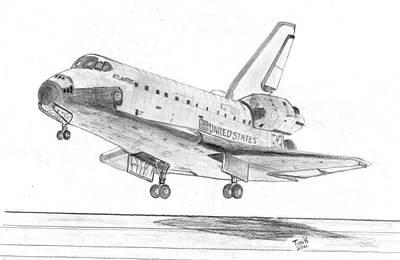Atlantis Drawing - Space Shuttle Atlantis by Tibi K