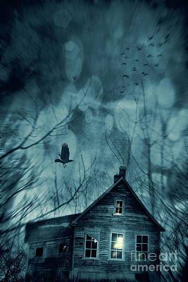 Spooky House At Sunset  Art Print by Sandra Cunningham