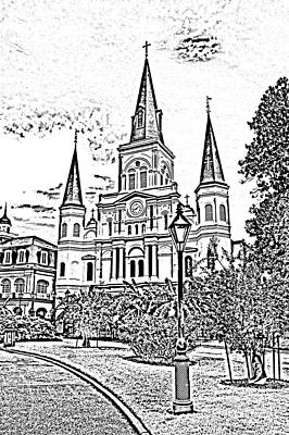 St Louis Cathedral Jackson Square French Quarter New Orleans Photocopy Digital Art  Art Print by Shawn O'Brien