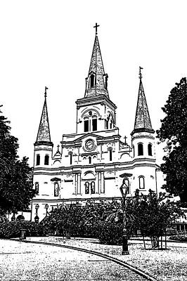 Digital Art - St Louis Cathedral Jackson Square French Quarter New Orleans Stamp Digital Art  by Shawn O'Brien
