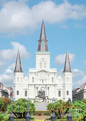 Digital Art - St Louis Cathedral Rising Above Palms Jackson Square New Orleans Accented Edges Digital Art by Shawn O'Brien