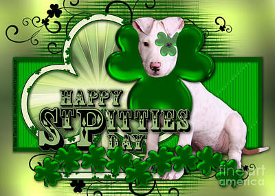 Puppies Digital Art - St Patricks - Happy St Pitties Day by Renae Laughner