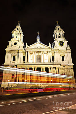 Red Roses - St. Pauls Cathedral in London at night 1 by Elena Elisseeva