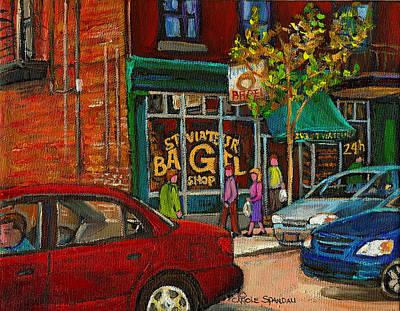 Montreal Storefronts Painting - St. Viateur Bagel Shop Montreal by Carole Spandau