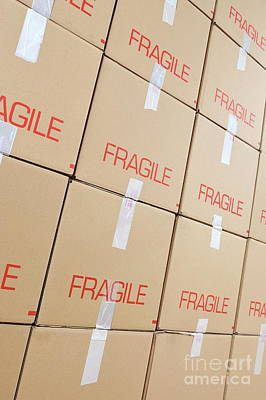 Stacks Of Cardboard Boxes Marked 'fragile' Art Print by Sami Sarkis