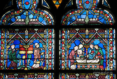 Stained Glass Windows Photograph - Stained Glass Window Of Notre Dame De Paris. France by Bernard Jaubert