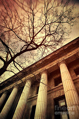 Photograph - Stark Facade Of Justice Courthouse From Low Angel View  by Sandra Cunningham