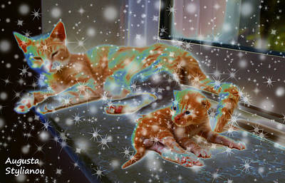 Kitty Digital Art - Starry Cat And Kitten by Augusta Stylianou