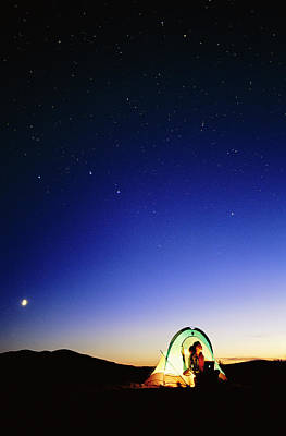 Starry Sky And Stargazer Art Print by David Nunuk