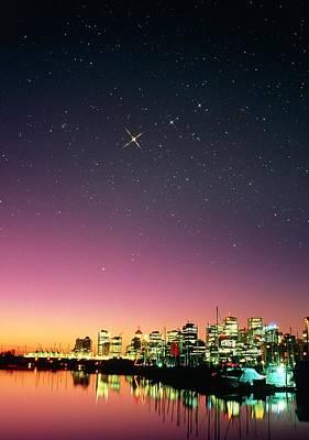 Starry Sky Over Vancouver Art Print by David Nunuk