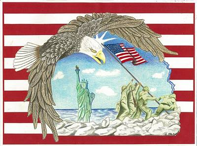 Iwo Jima Drawing - Stars And Stripes by Thomas Cavaness