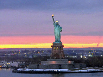 Statue Of Liberty At Sunset Art Print by Mircea Veleanu