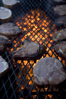 Steaks On A Campfire Grill At The 4-h Art Print by Joel Sartore