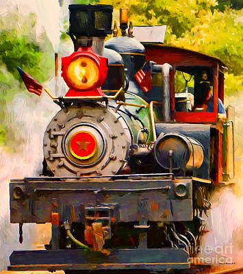 Mixed Media - Steam Train by Jerry L Barrett