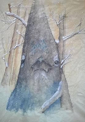 . Bird. Stellar Jay. Winter. Snow Painting - Stellar Jay From Front by Debbi Saccomanno Chan