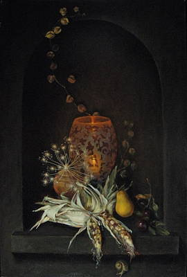 Carved Glass Painting - Still Life by Roger Clark