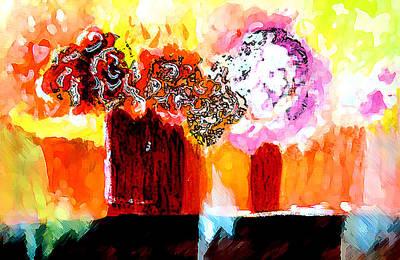 Finance Mixed Media - Still Life With Flowers by Seshadri Sreenivasan