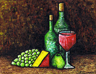 Cheese Green Pears Painting - Still Life With Wine And Cheese by Kamil Swiatek