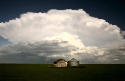 Storm Clouds Over Saskatchewan Granaries Art Print by Mark Duffy