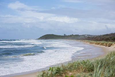 Storm Swell Waves On A Beach Print by David Freund