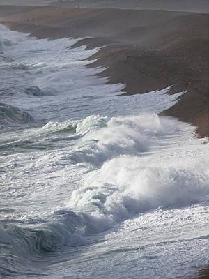 Storm Waves At Chesil Beach Print by Adrian Bicker