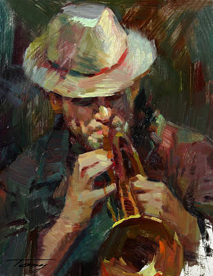 Trumpet Player Drawing - Street Musician by Tony Song