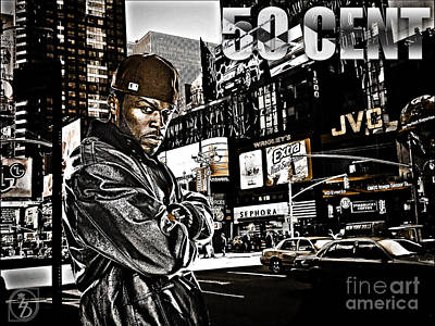 D77 Digital Art - Street Phenomenon 50 Cent by The DigArtisT