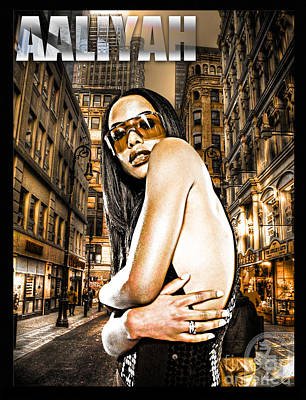 Rhythm And Blues Mixed Media - Street Phenomenon Aaliyah by The DigArtisT