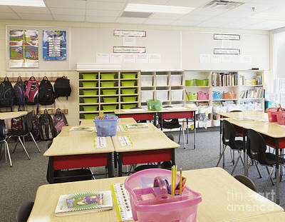 Student Desks In Classroom Print by Skip Nall