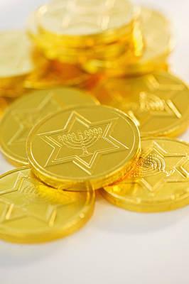 Hanukkah Photograph - Studio Shot Of Chocolate Coin by Daniel Grill