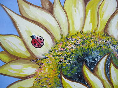Painting - Sunflower And Ladybug by Leslie Manley