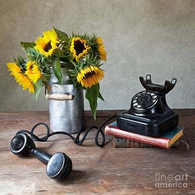 Sunflower Photograph - Sunflowers And Phone by Nailia Schwarz