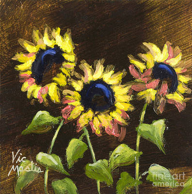 Painting - Sunning Buddies With Gold Leaf By Vic Mastis by Vic  Mastis