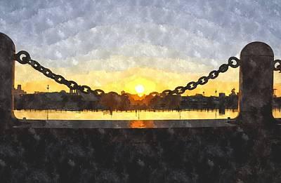 Digital Art - Sunrise Over Penns Landing by Andrew Dinh