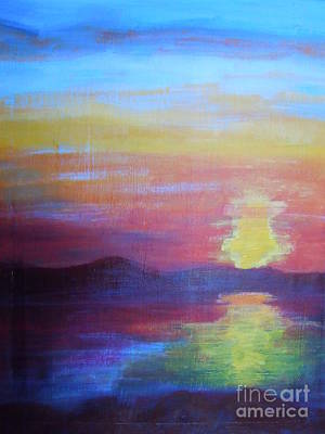 Painting - Sunrise Seascape by Lam Lam