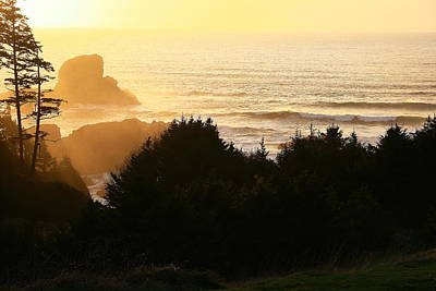 Sunset At Ecola Point Art Print by Steven A Bash