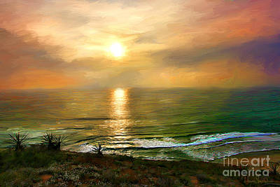 Sunset At Torrey Pines Beach Art Print
