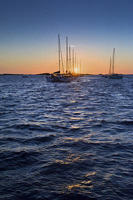 Photograph - Sunset Moorings Chausey by Gary Eason