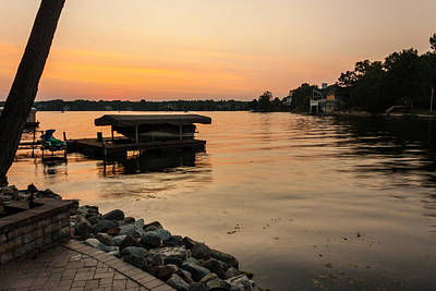 Photograph - Sunset On Geist Reservoir In Lawrence In by Semmick Photo