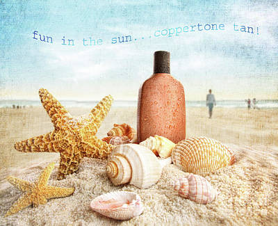 Suntan Lotion And Seashells On The Beach Art Print