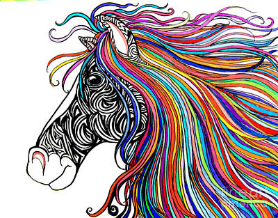 Animals Drawings - Tattooed Horse by Nick Gustafson