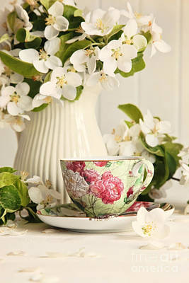 Fresh Flowers Photograph - Tea Cup With Fresh Flower Blossoms by Sandra Cunningham