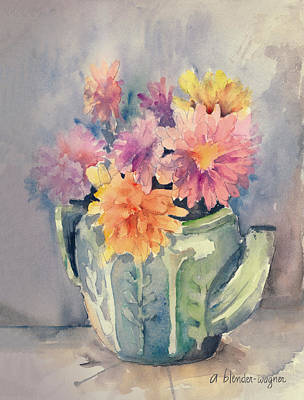 Painting - Teapot Flowers by Arline Wagner