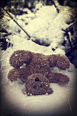 Hiding Photograph - Teddy In Snow by Joana Kruse