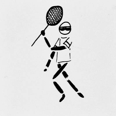 Tennis Racket Drawing - Tennis Guy by Robin Lewis